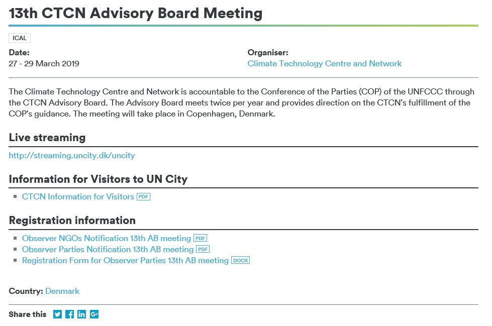 13th CTCN Advisory Board Meeting